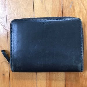 Vintage Coach Leather Zip CC Compact Wallet Gray